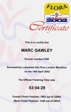 London marathon certificate